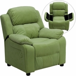 Deluxe Padded Contemporary Avocado Microfiber Kids Recliner with Storage Arms [BT-7985-KID-MIC-AVO-GG]