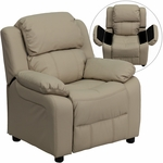 Deluxe Padded Contemporary Beige Vinyl Kids Recliner with Storage Arms [BT-7985-KID-BGE-GG]