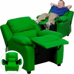 Deluxe Padded Contemporary Green Vinyl Kids Recliner with Storage Arms [BT-7985-KID-GRN-GG]