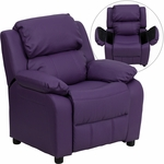 Deluxe Padded Contemporary Purple Vinyl Kids Recliner with Storage Arms [BT-7985-KID-PUR-GG]
