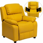 Deluxe Padded Contemporary Yellow Vinyl Kids Recliner with Storage Arms [BT-7985-KID-YEL-GG]