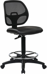 Work Smart Deluxe Mesh Back Vinyl Seat Drafting Chair with Adjustable Foot Ring - Black [DC2990V-FS-OS]