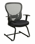 Space Deluxe R2 SpaceGrid® Back Visitors Chair with Fixed Arms and Mesh Seat - Black [529-3R2V30-FS-OS]