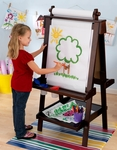 Kids Deluxe Double Sided Wood Art Easel with Paper Roll Dispenser and Chalkboard - Espresso [62019-FS-KK]