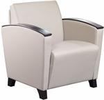 Dialogue Lounge Chair with Arm Caps and Wood Feet - Grade 2 Fabric [DIA10AC-GRD2-FS-LZBF]