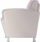 Dialogue Lounge Chair with Upholstered Arms and Brushed Satin Metal Feet - Grade 2 Fabric [DIA10UA-MF5-GRD2-FS-LZBF]