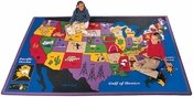 Discover America Map Rectangular Nylon Rug - 53''W x 70''D