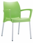 Domenica Lightweight Stackable Arm Chair with Aluminum Legs - Green [049-3754-ATC]