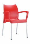 Domenica Lightweight Stackable Arm Chair with Aluminum Legs - Red [049-3723-ATC]