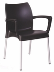 Domenica Lightweight Stackable Arm Chair with Aluminum Legs - Black [049-3730-ATC]