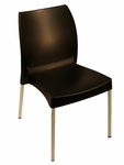 Domenica Lightweight Stackable Side Chair with Aluminum Legs - Black [049-3839-ATC]