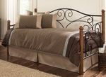 Doral Simple Mixed Medium Daybed with Link Spring - Matte Black and Walnut [B50338-FS-FBG]