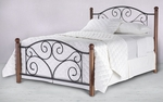 Doral Simple Mixed Media Bed with Frame - King - Matte Black and Walnut [B91276-FS-FBG]