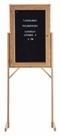 Double Pedestal Single-Sided Oak Frame and Glass Enclosed Message Board [WY-302-MSH]