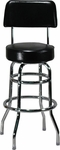 Double Ring Black Barstool with Back [6305-HND]