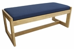 Belcino 19''H Backless Double Seat Bench with Oak Wood Finish - Blue [BBNCH2148MOBE-FS-REG]
