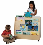 Double Sided Rolling Book Display with Eight Shelves and Heavy Duty Casters - Assembled - 30''W x 15''D x 29''H [34200-WDD]