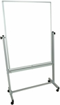 Doubled Sided Aluminum Frame Magnetic Mobile Whiteboard with Marker Tray - 41.5''W x 20.5''D x 72''H [MB3648WW-FS-LUX]