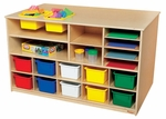 Double Sided Healthy Kids Plywood Mobile Storage Island with 12 Assorted Cubby Trays - Assembled - 49''W x 29''D x 30''H [962903-WDD]