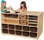 Double Sided Mobile Storage Island with (12) Brown Trays - Assembled - 49''W x 29''D x 30''H [962902-WDD]