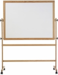 Double-Sided Remarkaboard® Markerboard with Wood Trim - 36''H x 48''W [RW-34H-MSH]