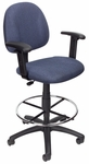 Contoured Back Drafting Stool with Foot Ring and Adjustable Arms - Blue Tweed [B1616-BE-FS-BOSS]