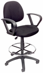 Contoured Back Drafting Stool with Foot Ring and Loop Arms - Black [B1617-BK-FS-BOSS]