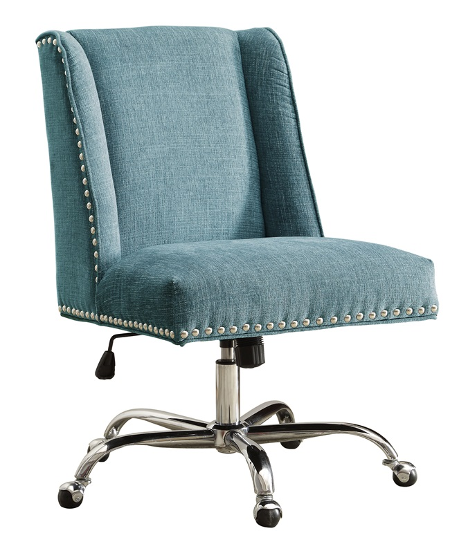 draper height adjustable chrome and plush fabric office chair with