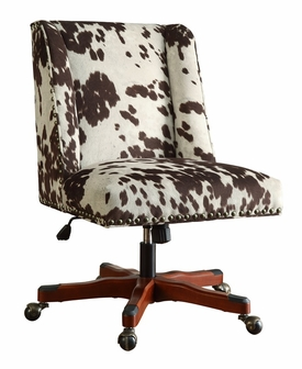 Draper Height Adjustable Wood and Plush Fabric Office Chair with