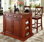 Drop Leaf Breakfast Bar Top Kitchen Island in Cherry Finish with 24'' Cherry X-Back Stools [KF300073CH-FS-CRO]