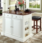 Drop Leaf Breakfast Bar Top Kitchen Island in White Finish with 24'' Cherry Upholstered Square Seat Stools [KF300075WH-FS-CRO]