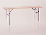 Dual Height Display Table with Pine Flush Edge and Plywood Top - 48''D x 24''W [MP2448DHDIS-MFC]