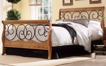 Dunhill Mixed Media Sleigh Bed with Frame - Full - Autumn Brown and Honey Oak [B91D04-FS-FBG]