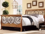 Dunhill Mixed Media Sleigh Bed with Frame - King - Autumn Brown and Honey Oak [B91D06-FS-FBG]