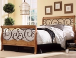 Dunhill Mixed Media Sleigh Bed with Frame - Queen - Autumn Brown and Honey Oak [B91D05-FS-FBG]