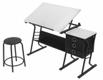 Eclipse Contemporary Craft and Storage Center with Stool - Black and White [13364-FS-SDI]