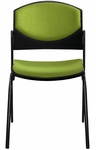Eddy 4-Post Black Stack Side Chair with Upholstered Back and Seat Pads [ED4020-FS-DV]