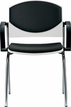 Eddy 4-Post Chrome Stack Side Chair with Upholstered Back and Seat Pads [ED4020-000-FS-DV]