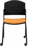 Eddy Armless Stack Side Chair on Casters with Upholstered Seat Pad [ED4080-FS-DV]