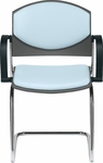 Eddy Sled Base Chrome Stack Side Chair with Upholstered Back and Seat Pads [ED4120-000-FS-DV]