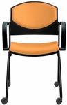 Eddy Stack Side Chair on Casters with Upholstered Back and Seat Pads [ED4092-FS-DV]