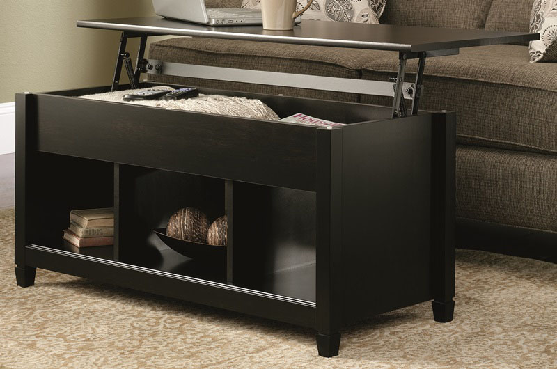 Edge water coffee table estate black 414856 by sauder Black lift top coffee tables