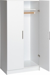 Elite 32'' Wardrobe Cabinet with 1 Stationary Shelf and Hanging Rail - White [WEW-3264-FS-PP]