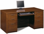 Embassy Executive Desk Set with Keyboard Shelf and Filing Drawers - Tuscany Brown [60850-63-FS-BS]