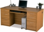 Embassy Executive Desk Set with Keyboard Shelf and Filing Drawers - Cappuccino Cherry [60850-68-FS-BS]