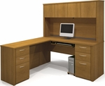 Embassy L-Shaped Workstation Kit with 4 Utility Drawers and 2 Filing Drawers - Cappuccino Cherry [60853-68-FS-BS]
