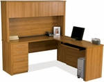 Embassy L-Shaped Workstation Kit with Keyboard Shelf and 1 Filing Drawer - Cappuccino Cherry [60865-68-FS-BS]