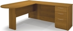 Embassy L-Shaped Workstation Kit with 2 Utility Drawers and 1 Filing Drawer - Cappuccino Cherry [60880-68-FS-BS]