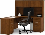 Embassy L-Shaped Workstation Kit with 4 Utility Drawers and 2 Filing Drawers - Tuscany Brown [60853-63-FS-BS]