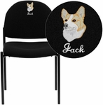 Embroidered Comfort Black Fabric Stackable Steel Side Reception Chair [BT-515-1-BK-EMB-GG]